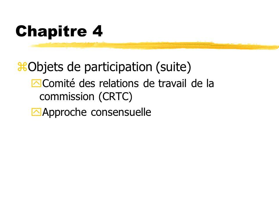 Chapitre 4 Objets de participation (suite)