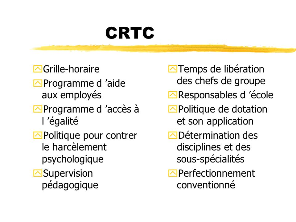 CRTC Grille-horaire Programme d 'aide aux employés