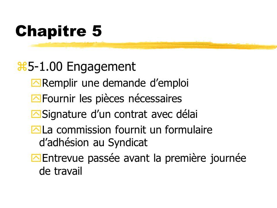 Chapitre 5 5-1.00 Engagement Remplir une demande d'emploi