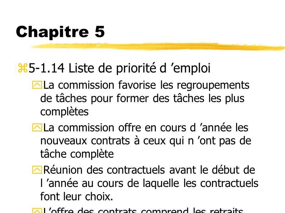Chapitre 5 5-1.14 Liste de priorité d 'emploi