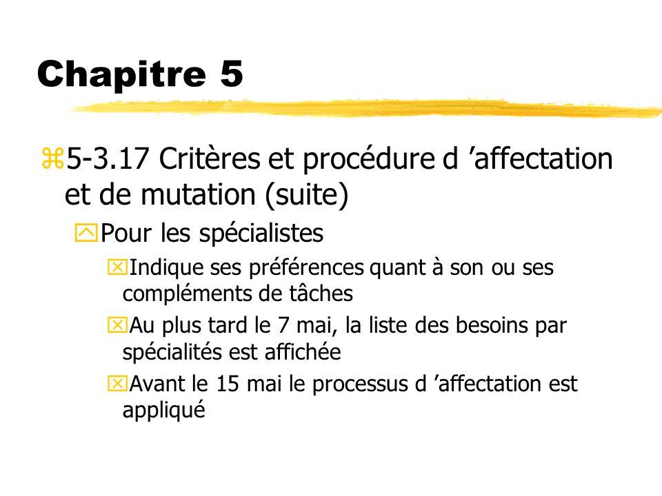 Chapitre 5 5-3.17 Critères et procédure d 'affectation et de mutation (suite) Pour les spécialistes.
