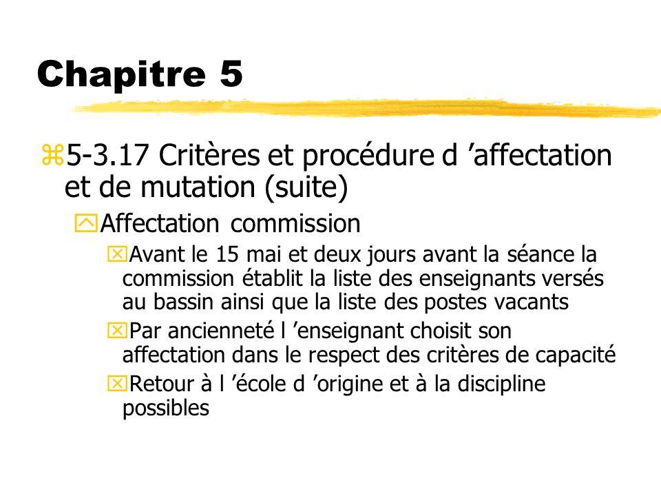 Chapitre 5 5-3.17 Critères et procédure d 'affectation et de mutation (suite) Affectation commission.