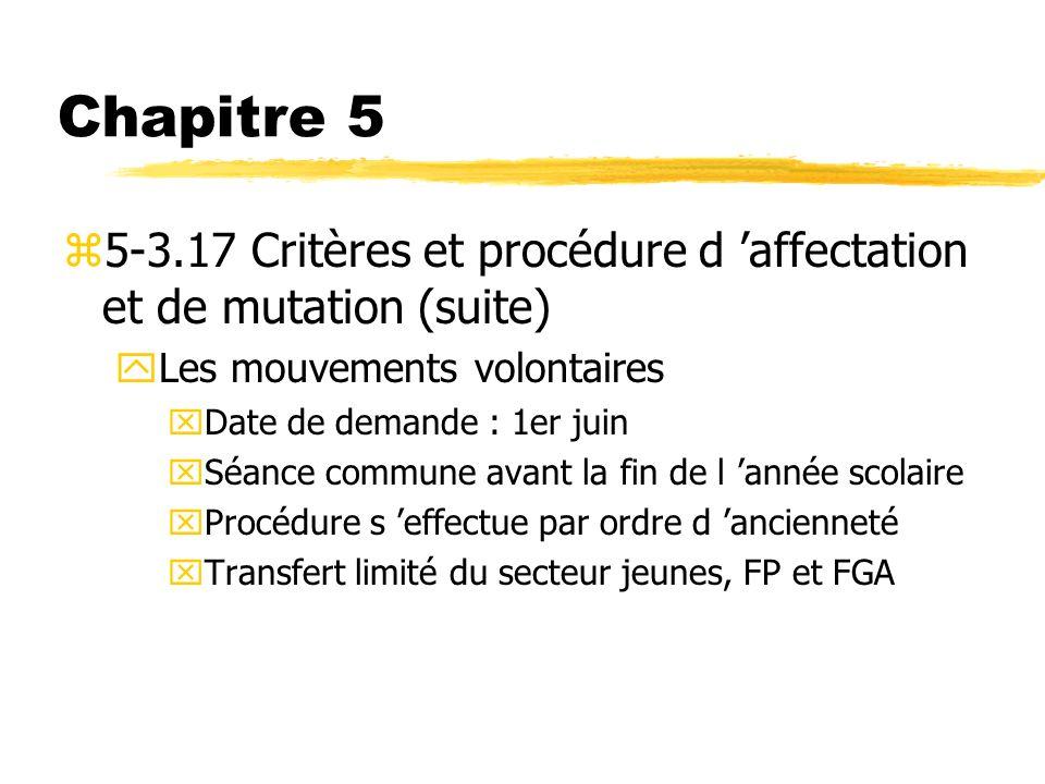 Chapitre 5 5-3.17 Critères et procédure d 'affectation et de mutation (suite) Les mouvements volontaires.