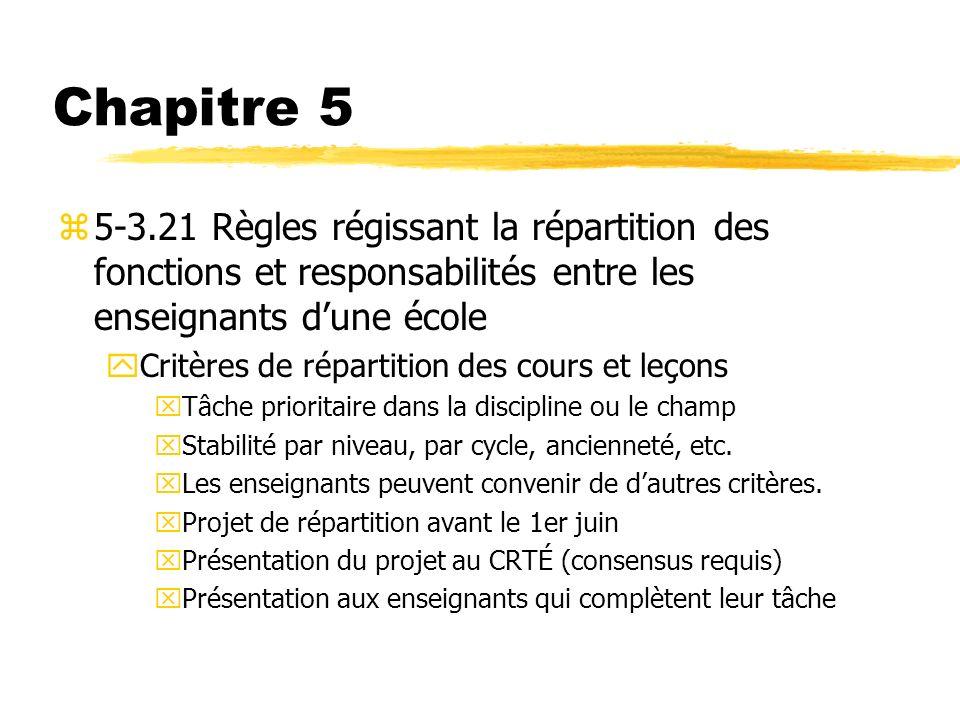 Chapitre 5 5-3.21 Règles régissant la répartition des fonctions et responsabilités entre les enseignants d'une école.