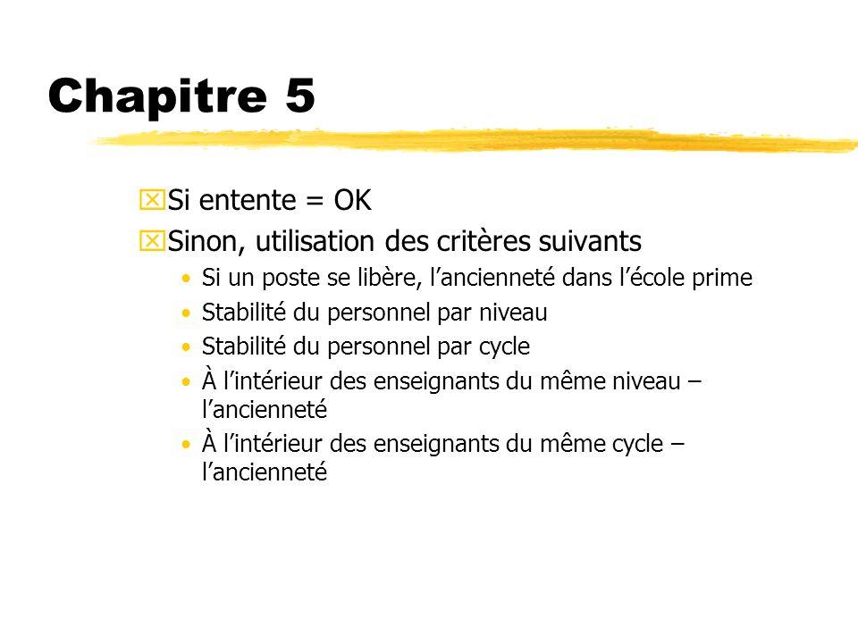Chapitre 5 Si entente = OK Sinon, utilisation des critères suivants