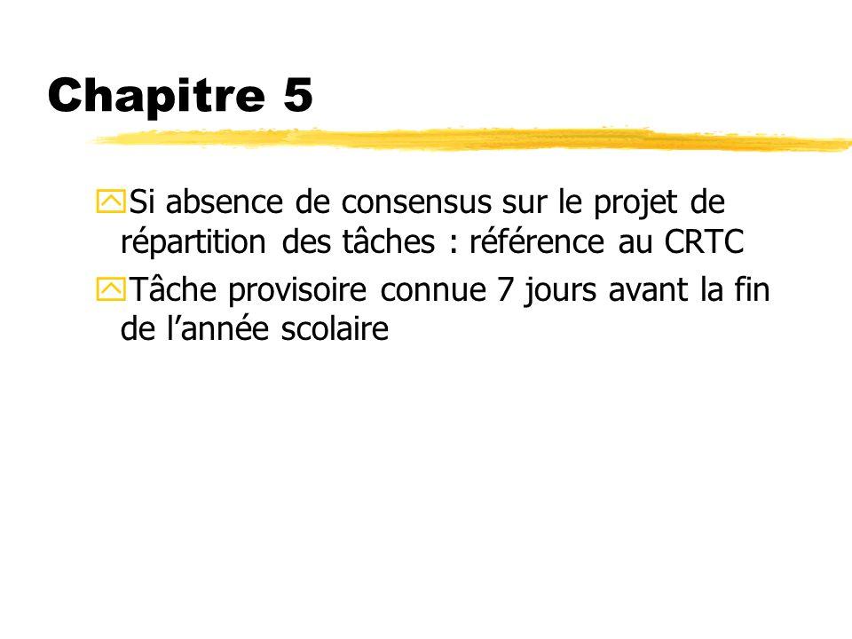 Chapitre 5 Si absence de consensus sur le projet de répartition des tâches : référence au CRTC.