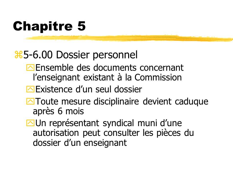 Chapitre 5 5-6.00 Dossier personnel