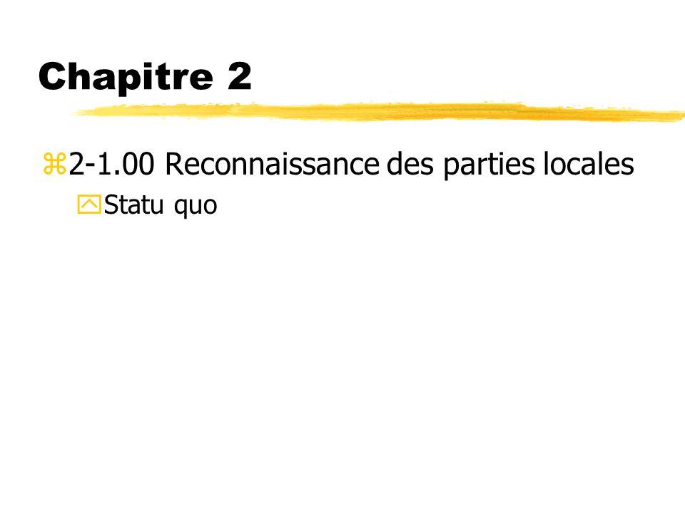 Chapitre 2 2-1.00 Reconnaissance des parties locales Statu quo