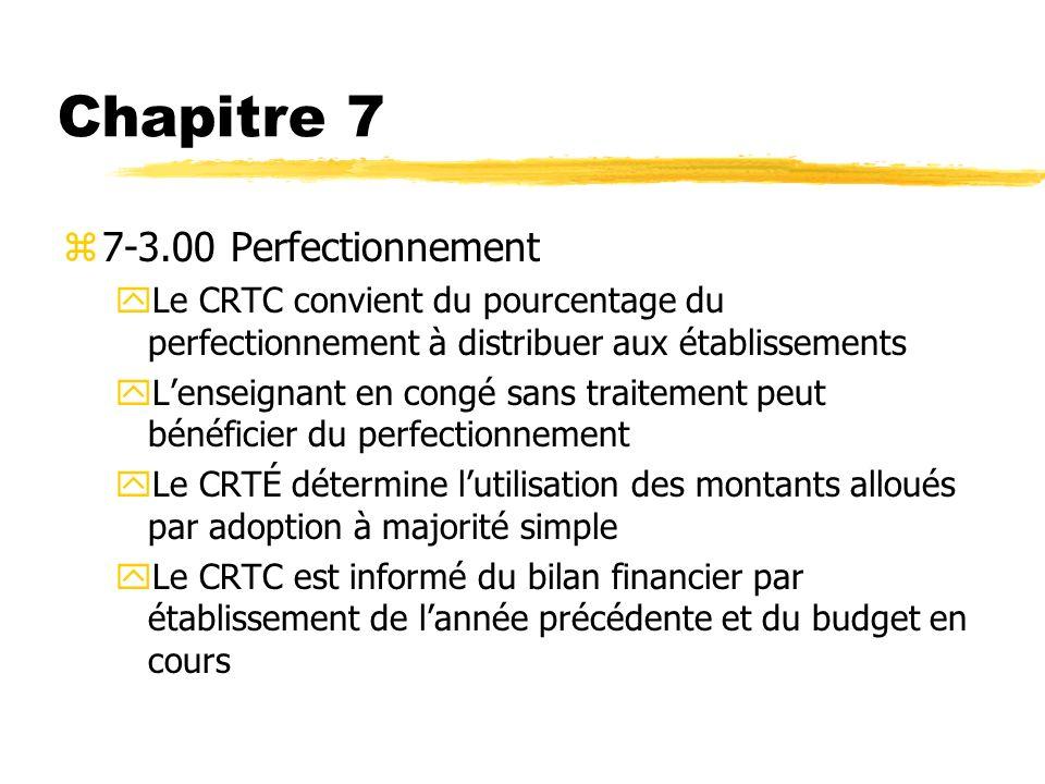 Chapitre 7 7-3.00 Perfectionnement