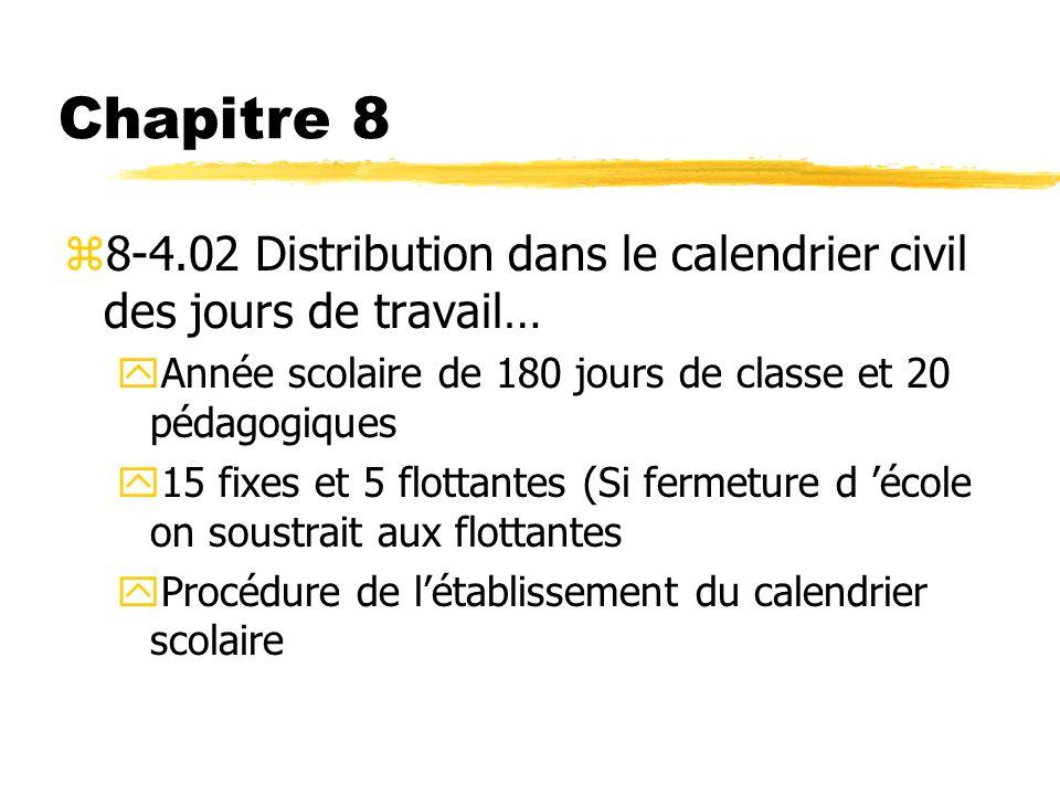 Chapitre 8 8-4.02 Distribution dans le calendrier civil des jours de travail… Année scolaire de 180 jours de classe et 20 pédagogiques.