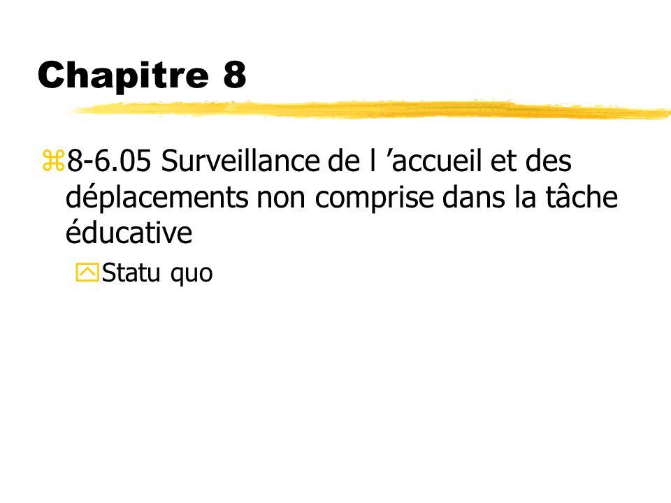 Chapitre 8 8-6.05 Surveillance de l 'accueil et des déplacements non comprise dans la tâche éducative.
