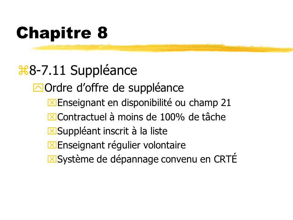 Chapitre 8 8-7.11 Suppléance Ordre d'offre de suppléance