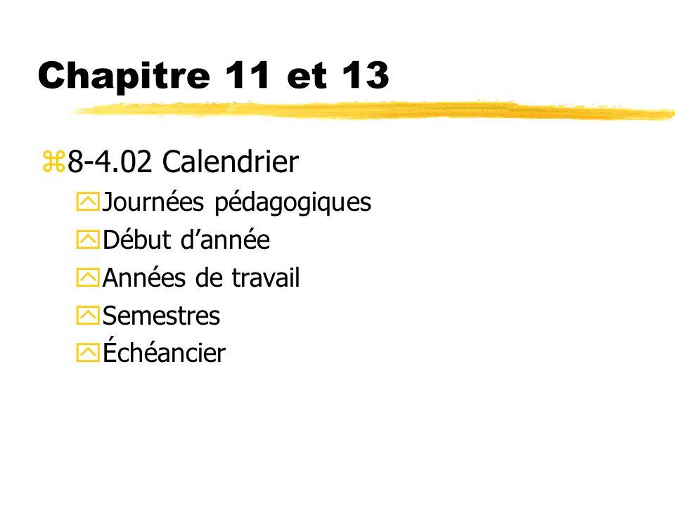 Chapitre 11 et 13 8-4.02 Calendrier Journées pédagogiques