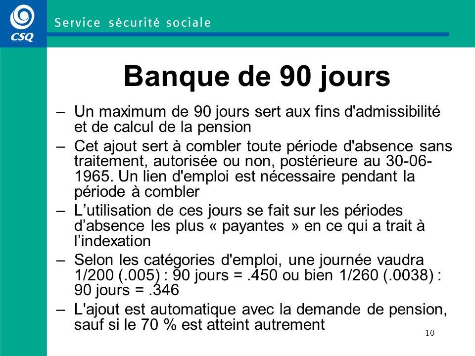 Banque de 90 joursUn maximum de 90 jours sert aux fins d admissibilité et de calcul de la pension.