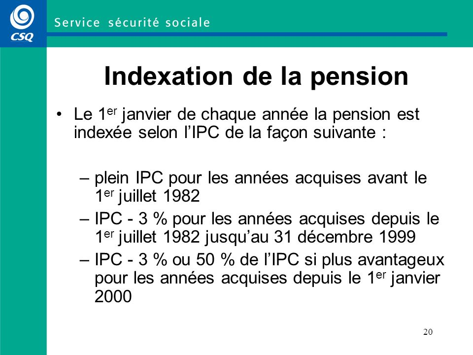 Indexation de la pension