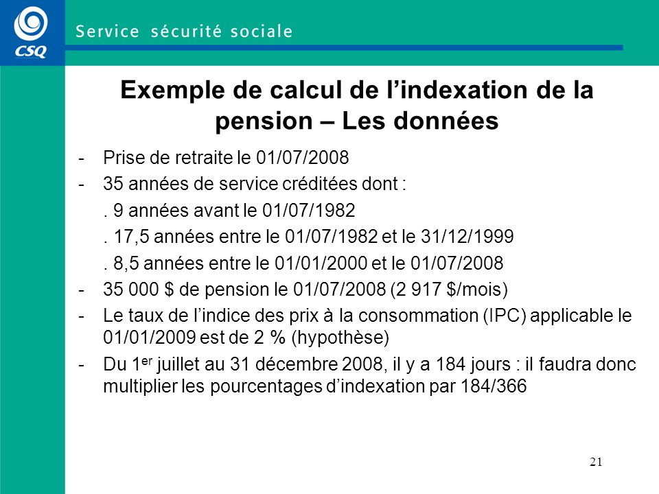 Exemple de calcul de l'indexation de la pension – Les données