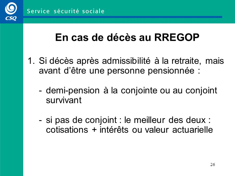 En cas de décès au RREGOP