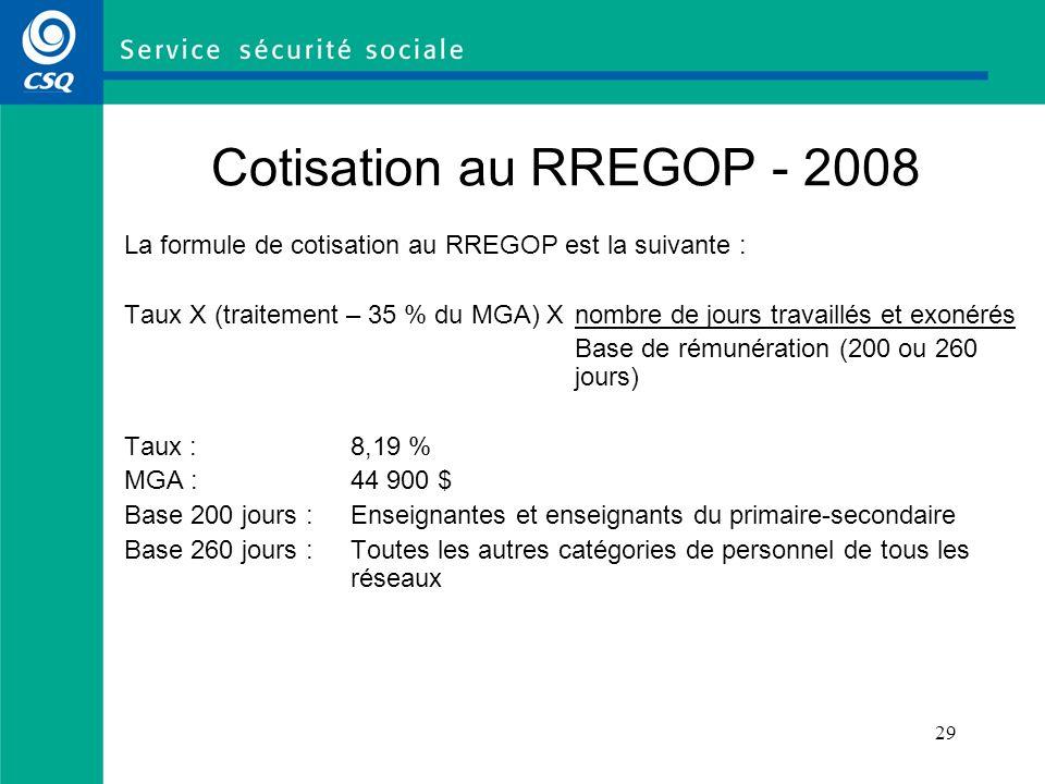 Cotisation au RREGOP - 2008 La formule de cotisation au RREGOP est la suivante :