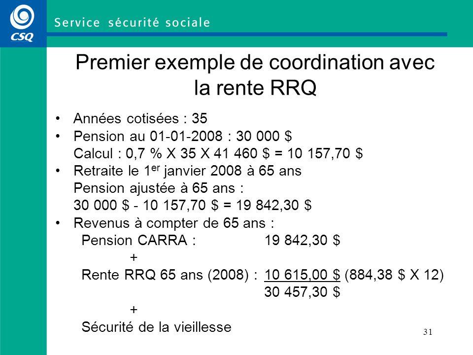 Premier exemple de coordination avec la rente RRQ