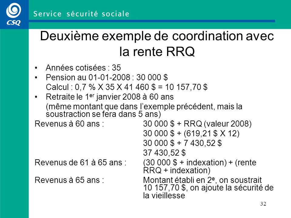 Deuxième exemple de coordination avec la rente RRQ