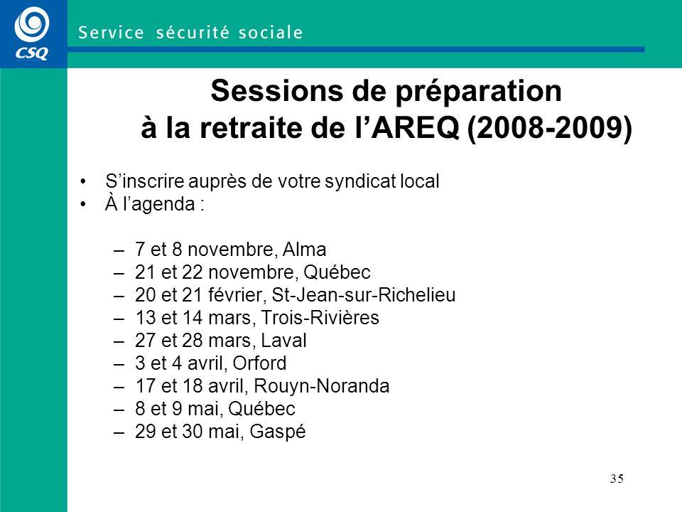 Sessions de préparation à la retraite de l'AREQ (2008-2009)
