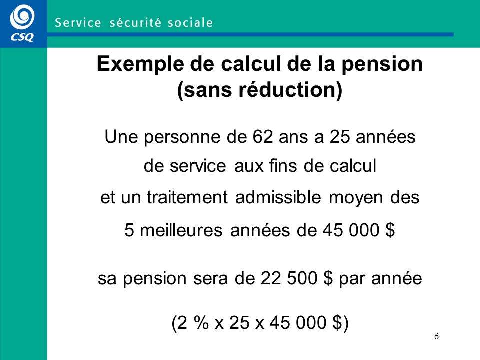Exemple de calcul de la pension (sans réduction)