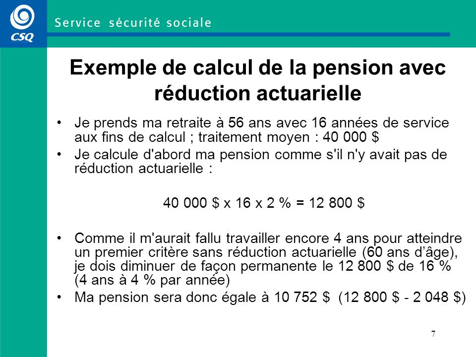 Exemple de calcul de la pension avec réduction actuarielle
