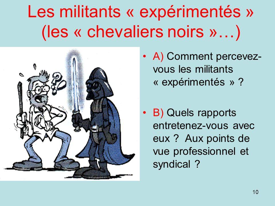 Les militants « expérimentés » (les « chevaliers noirs »…)