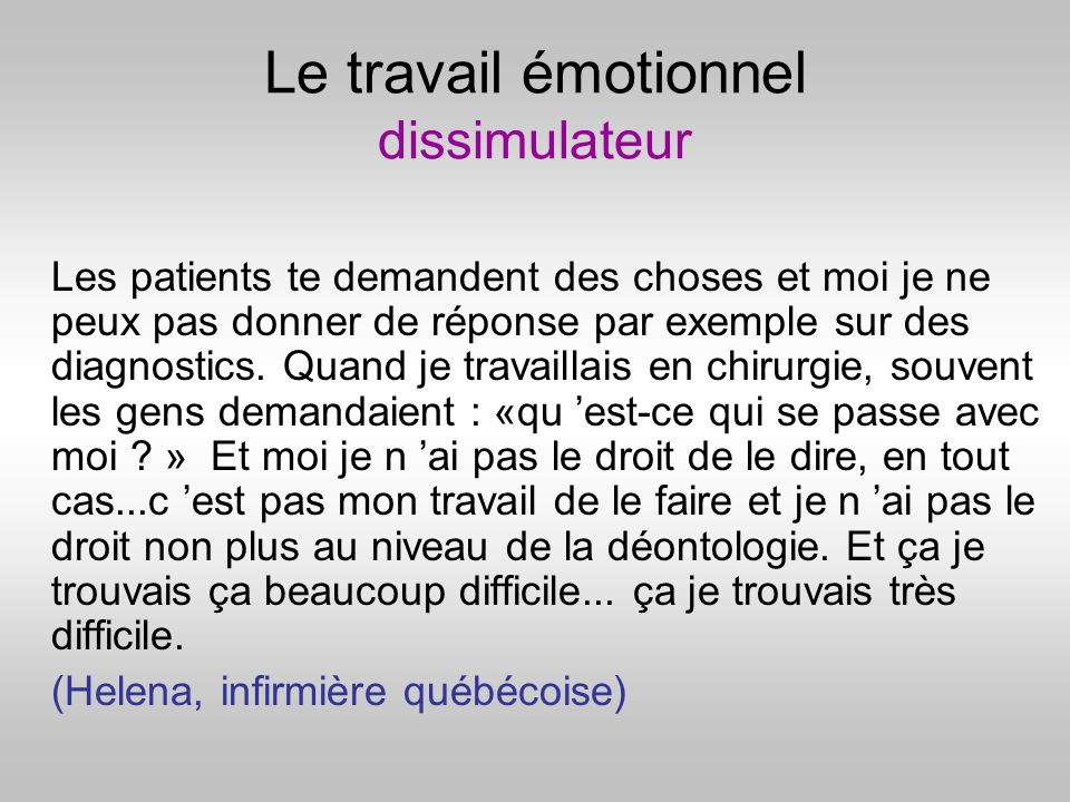 Le travail émotionnel dissimulateur
