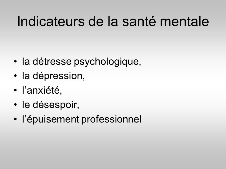 Indicateurs de la santé mentale