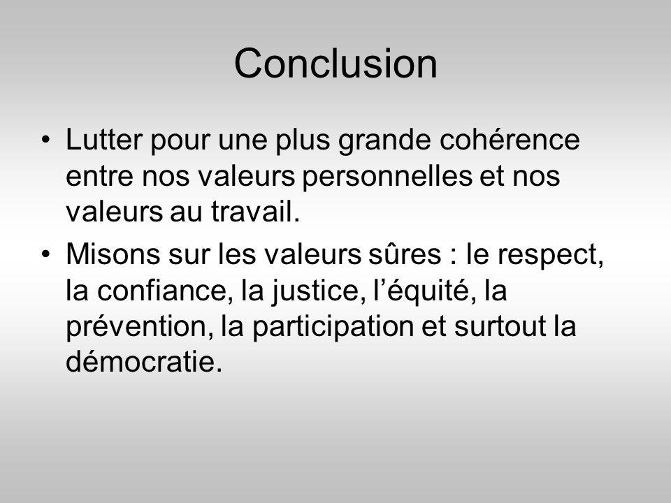 Conclusion Lutter pour une plus grande cohérence entre nos valeurs personnelles et nos valeurs au travail.