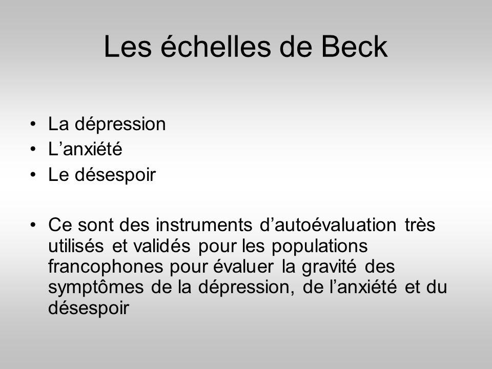 Les échelles de Beck La dépression L'anxiété Le désespoir