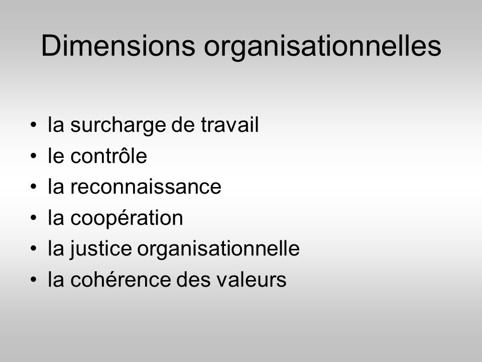 Dimensions organisationnelles