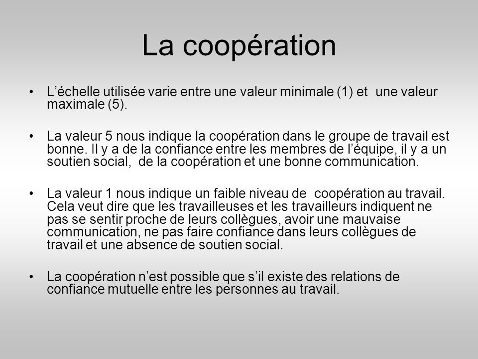 La coopération L'échelle utilisée varie entre une valeur minimale (1) et une valeur maximale (5).