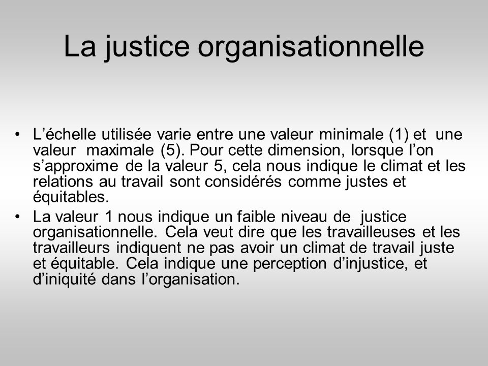 La justice organisationnelle