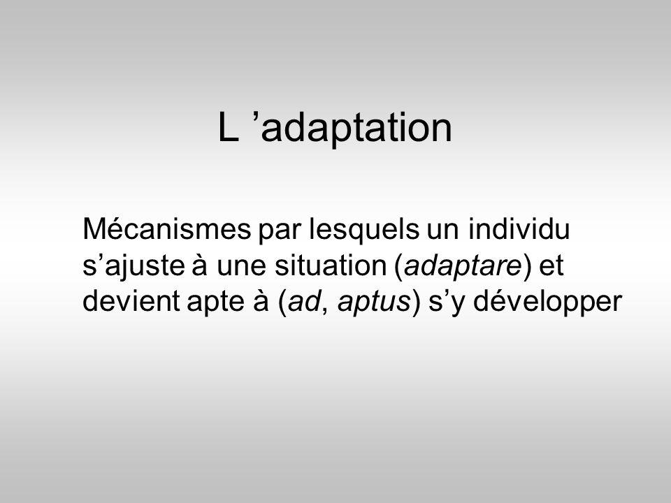 L 'adaptation Mécanismes par lesquels un individu s'ajuste à une situation (adaptare) et devient apte à (ad, aptus) s'y développer.
