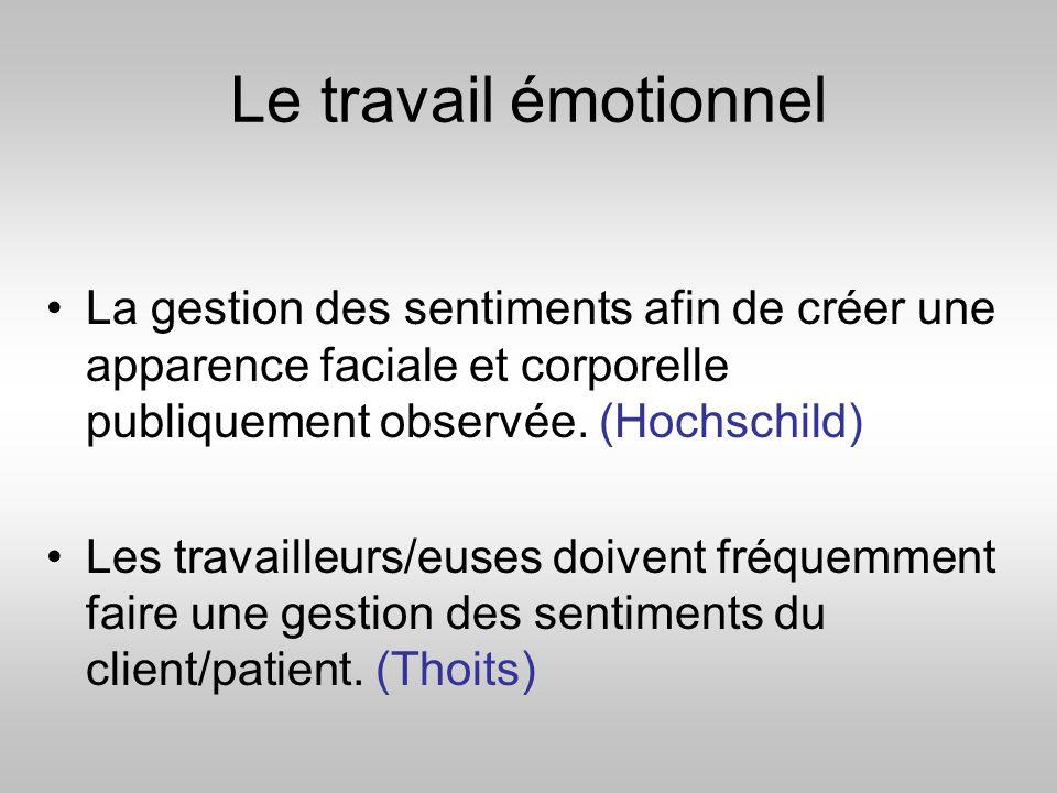 Le travail émotionnel La gestion des sentiments afin de créer une apparence faciale et corporelle publiquement observée. (Hochschild)