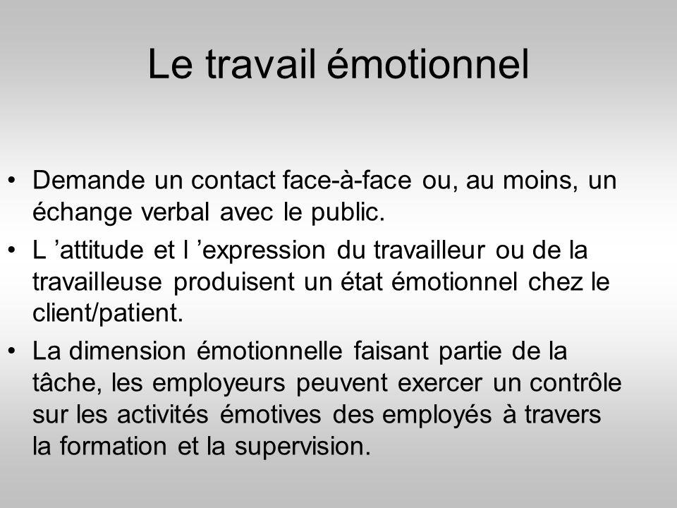 Le travail émotionnel Demande un contact face-à-face ou, au moins, un échange verbal avec le public.