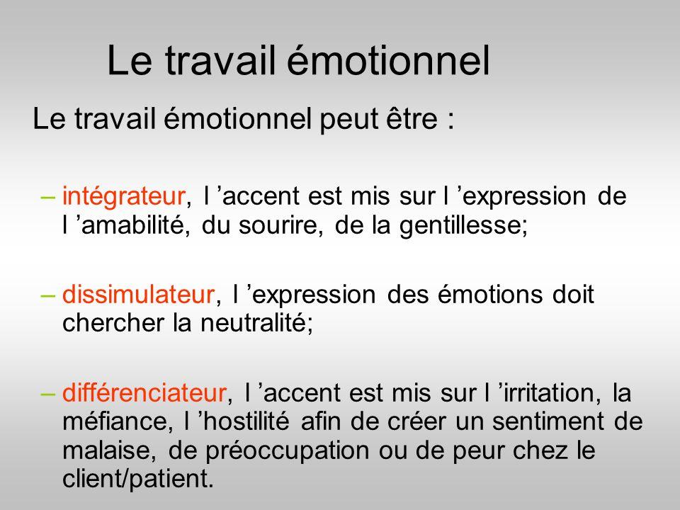 Le travail émotionnel Le travail émotionnel peut être :