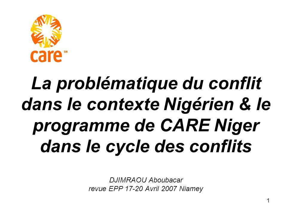 La problématique du conflit dans le contexte Nigérien & le programme de CARE Niger dans le cycle des conflits DJIMRAOU Aboubacar revue EPP 17-20 Avril 2007 Niamey
