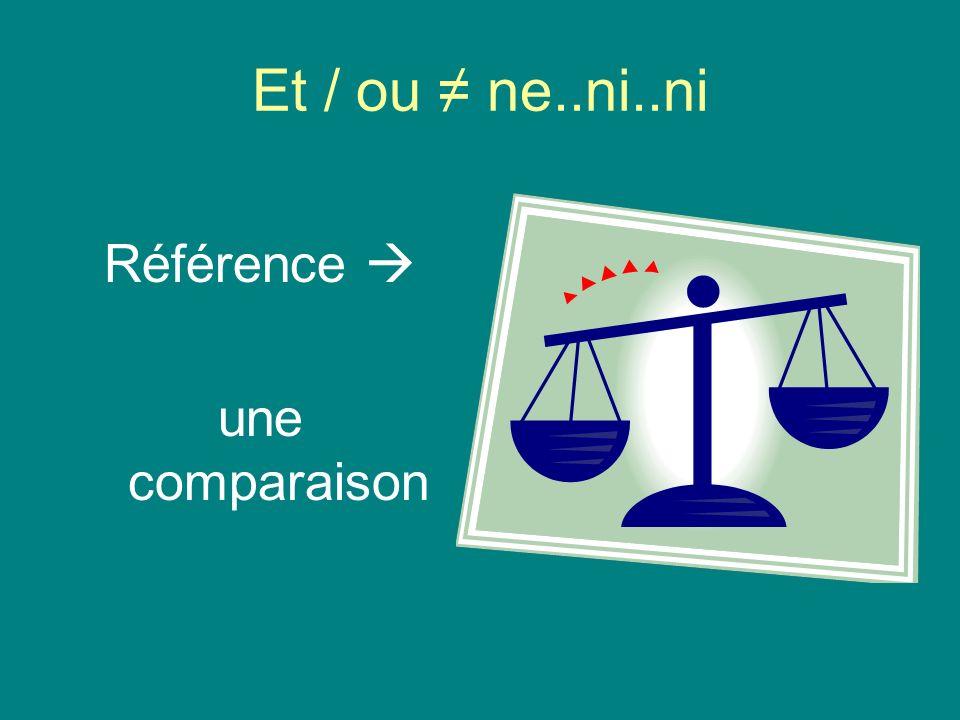 Et / ou ≠ ne..ni..ni Référence  une comparaison