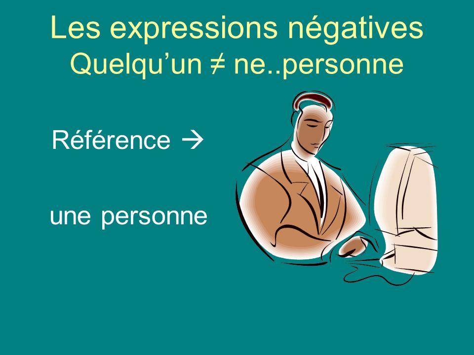 Les expressions négatives Quelqu'un ≠ ne..personne