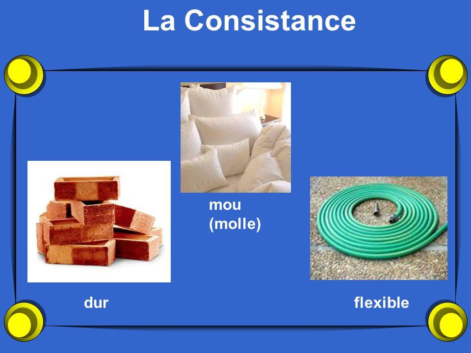 La Consistance mou (molle) dur flexible
