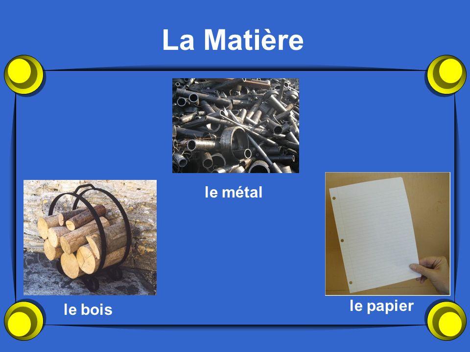 La Matière le métal le papier le bois