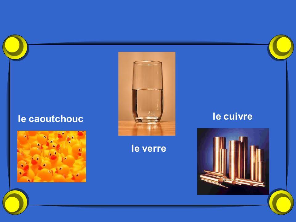 le cuivre le caoutchouc le verre