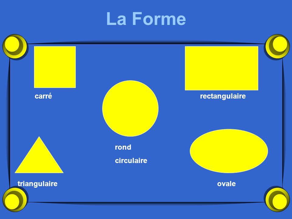 La Forme carré rectangulaire rond circulaire triangulaire ovale