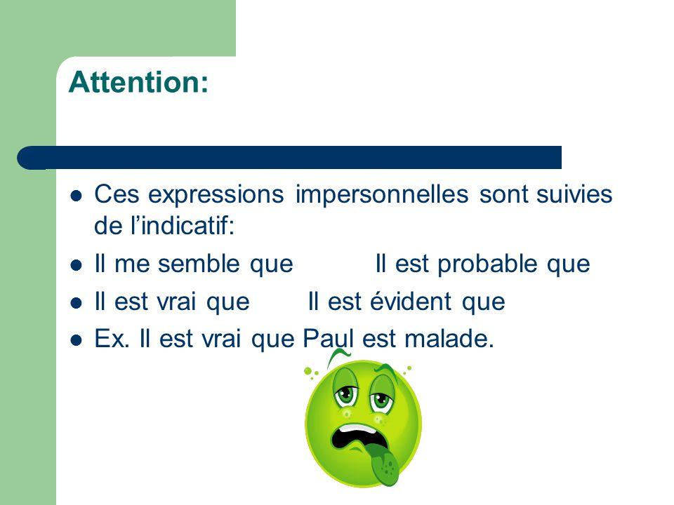 Attention: Ces expressions impersonnelles sont suivies de l'indicatif: