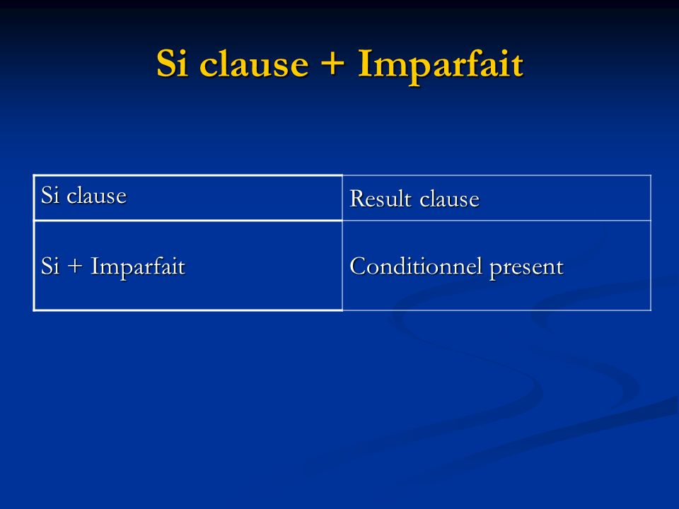 Si clause + Imparfait Si clause Result clause Si + Imparfait