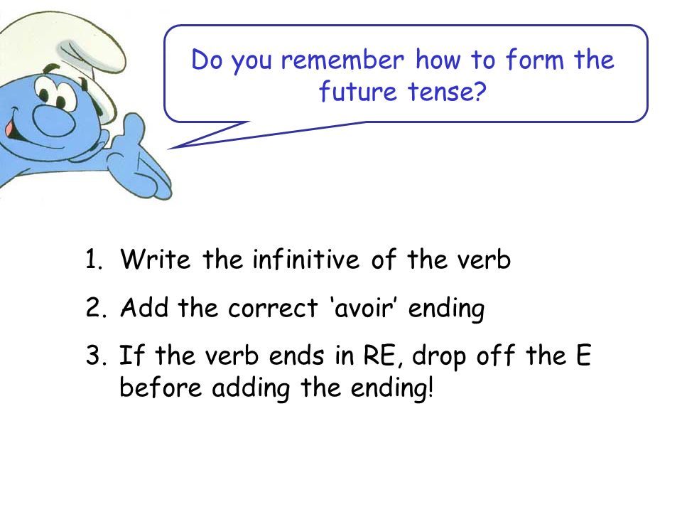 Do you remember how to form the future tense