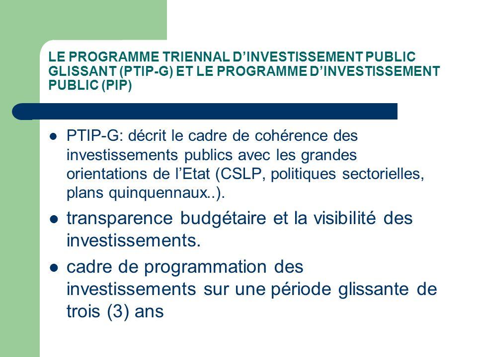 transparence budgétaire et la visibilité des investissements.